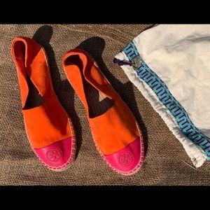 Tory Burch orange & fuchsia leather espadrilles